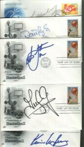 (5) Unknown Autographed Basketball First Day Covers