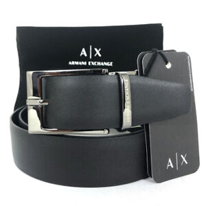 Cintura da uomo ARMANI EXCHANGE pelle Blu Nero reversibile casual elegante