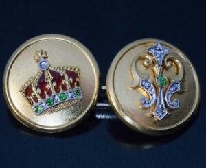 Gorgeous Rare Antique Royal 10K Pure Yellow Gold Men's Engagement Cufflinks Set