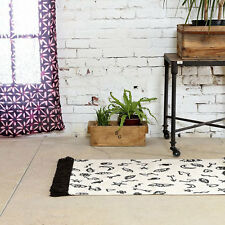 NWT URBAN OUTFITTERS MAGICAL THINKING BLACK WHITE WOVEN COTTON SYMBOLS RUG 2 x 3