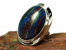 RAINBOW   CALSILICA   Sterling   Silver  925  Gemstone  RING   -  Size  Q