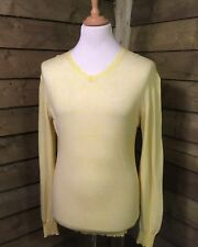 Aquascutum Smart/Casual Cotton/Cashmere V-Neck Pullover/Jumper Yellow Medium