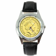 QUEEN ELIZABETH GOLD COIN ROYAL LEGEND Steel BLACK LEATHER BAND ROUND GIFT WATCH