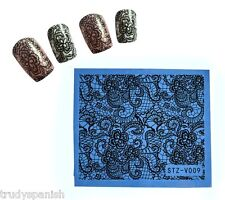 Nail Art Water Decals Decoration Black Lace Flowers Stamping Effect Gel Polish 9