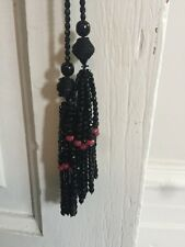 Lee Angel Marked Long Pink & Black Glass Bead Necklace