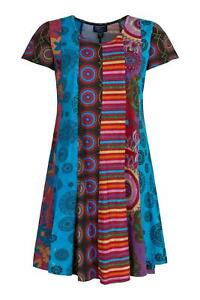 Patchwork flared dress with sleeves