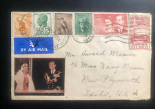 1954 Melbourne Airmail Coronation Cachet Cover to New Plymouth Usa