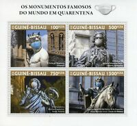 Guinea-Bissau Medical Stamps 2020 MNH Corona Famous Monuments Architecture 4v MS
