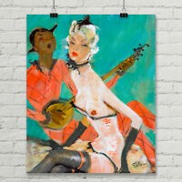 Gift Pinup Pin up print Jean-Gabriel Domergue Art Canvas Poster Affiche