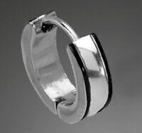 EDELSTAHL Herren Einzel-Ohrring Creole schwarz 13 mm