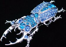 ALILANG TEAL BLUE CRAWLING PINCER INSECT BUG STAG BEETLE PIN BROOCH JEWELRY 2.5""