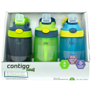 3x Contigo Kids Autospout Leak & Spill Proof Water Bottle 414ml BPA Free Boy