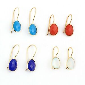 Lot 4 PC Sale ! Blue Chalcedony Opalite Quartz Red Coral Gold Plated Earrings