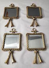 4-Vintage Homco Home Interiors Twisted Rope Beveled Hanging Tassel Mirror