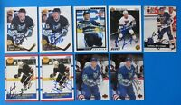LOT OF 9 NELSON EMERSON SIGNED HOCKEY CARDS ~ 100% GUARANTEE