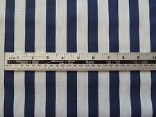 Navy and White Broad Stripe Poly Cotton by The Metre - Postage