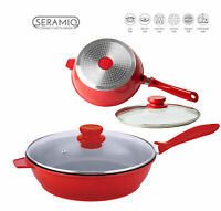 28cm SAUTE PAN Induction Gas Electric Hob Non Stick Glass Lid Deep Fry Red