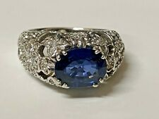 18K White Gold Ring Art Deco Style with Diamonds and Oval Blue Sapphire 3CT. NEW