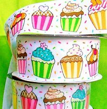 "2-yds. FUN CUPCAKEs 1.5"" WIDE Grosgrain Ribbon Pastel w/hearts &Butterflies Pink"