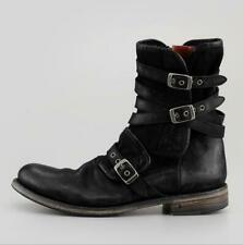 Mens Vogue PU Fade Leather Multi Buckle Straps Motorcycle Biker Round Toe Boots