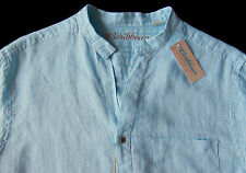 Men's CARIBBEAN Corydals Sea Blue Linen + Open Neck Shirt 3XB 3XL 3X BIG NWT NEW