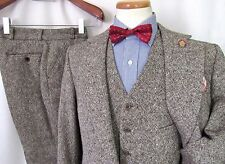 Vtg 60s/70s DONEGAL TWEED Flecked 3pc Wool Suit 38 to 40 R ~ vest Jacket pants