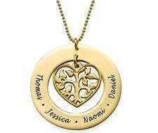 Halskette Herz mit Gravur bis zu vier Namen Familie Namenskette Blume Baum 06