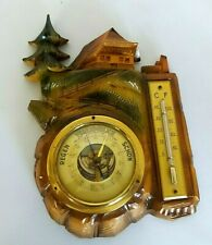 VINTAGE BLACK FOREST WALL PIECE COTTAGE WITH BAROMETER AND THERMOMERTER