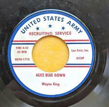 U.S. ARMY RECRUITING SERVICE 45rpm record: Army & WAC ads, Wayne King waltzes