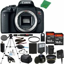 Canon T7i Body Bundle + Wide Angle + Tele + 2pcs 16GB + Flash + Battery +Charger