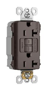 PLUGTAIL® BROWN Outlet TAMPER-RESISTANT 20A SELF-TEST GFCI RECEPTACLE w/ covers