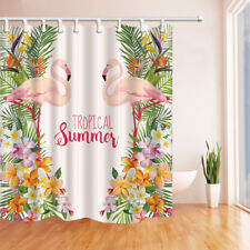 Tropical Summer Flamingo Bathroom Shower Curtain Fabric w/12 Hooks 71*71inches
