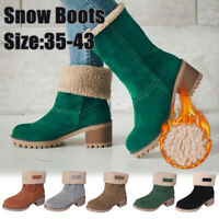 Fashion Women's Winter Solid Flat Buckle Short Snow Boots Warm Casual Shoes Size