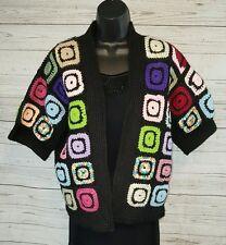 Vtg Hand Made 70's Hippie Crocheted Granny Square  Festival Boho  Sweater #1534