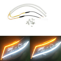 2x 60cm Flexible Soft Tube DRL Headlight Turn Signal Light Guide LED Strip Lamps
