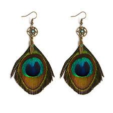 BOHO PEACOCK FEATHER DANGLE DROP EARRINGS Bohemian Gypsy Ethnic Tribal Jewellery