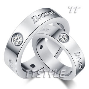 TTstyle Silver S.Steel Anniversary Dream hope Believe Band Ring Set Size 6-13
