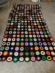 Vintage Hand Made Crochet Knit Granny Afghan Blanket 59in X 117in Colorful!