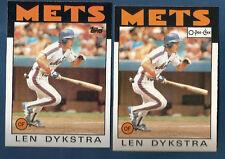 (2) 1986 TOPPS & O-PEE-CHEE METS LEN DYKSTRA ROOKIE  CARD LOT #53