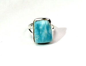 Exquisite Natural Sky Blue Larimar .925 Sterling Silver Ring #7