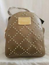 New BEBE Gemma Mini Backpack Taupe Rhinestones Purse Faux Leather Handbag $89