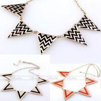 Fashion Punk Metal Triangle Geometry Necklace Collar Bib Choker Gold Tone-CA