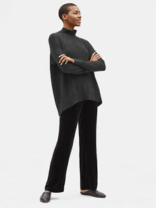 NWT EILEEN FISHER Charcoal Italian Cashmere Mock Neck Sweater Top PS
