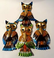 Bali Hand Crafted Metal Wall Hung Owl family- Balinese Metal Art Owl FREE POST