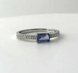 Natural Tanzanite & Diamond Dainty Ring in 14K Solid White Gold Sz 8