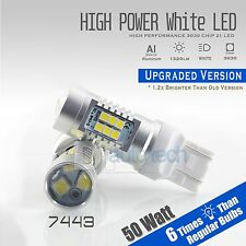 2X 1300 Lumens 50W 7443 High Power Chip LED White Turn Signal Lights Bulbs