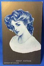 1907 Original Antique D. Hillson SWEET SIXTEEN Girl on Gold Postcard