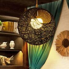 20cm Rattan Wicker Ceiling Light Pendant Lampshade for Home Bar Shop -Black