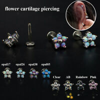 Fire Opal, Zircon flower Ear Cartilage Tragus Helix Piercing Jewelry Earrings