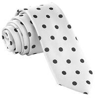 "New Men's Poly Woven 2.5"" Skinny Slim Necktie Only Prom Polka Dots White / Black"